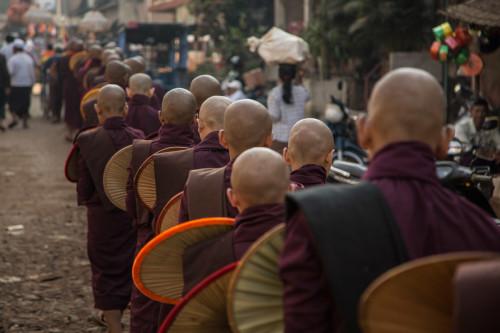 Alms giving, Lower Burma
